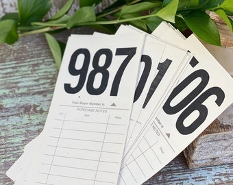 Vintage AUCTION NUMBER Bid Card Ephemera Farmhouse Decor Cardstock Black Number Board Sign #300-399