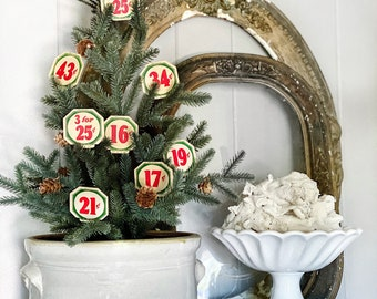 Vintage Price Tag Number Card Sign RED GREEN Farmhouse Decor Cardboard Christmas Decor Grocery Salvage USA