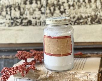 Antique Glass Jar Bottle  Apothecary Pharmacy Label Fall Farmhouse Decor Industrial Decor Salvage