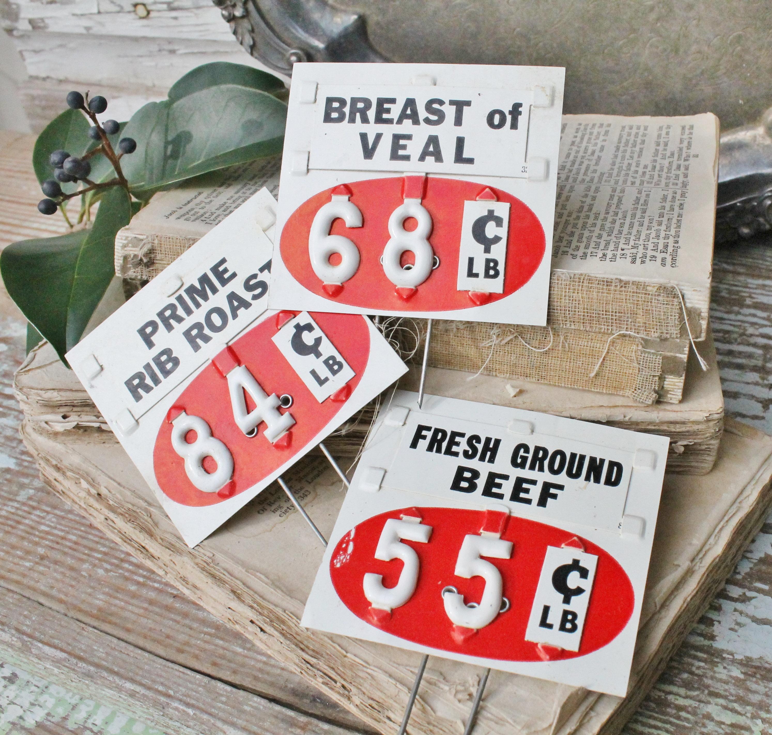 Vintage Price Tag Stake Numbers Black White Red Industrial