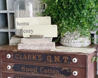 HOME Flash Cards LARGE Vintage Inspired Flashcard SET Of 8 Farmhouse Spring Decor Party Favor Banner