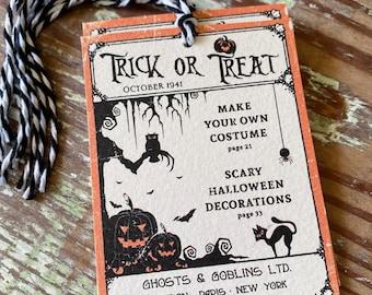 HALLOWEEN Trick or Treat COSTUME Retro Gift Tags Vintage Orange Farmhouse Decor Grungy Party Favor Vintage Halloween Card