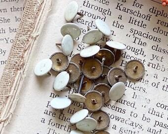 10 Vintage White Metal Tack Push Pins Industrial Salvage Farmhouse Decor Chippy White