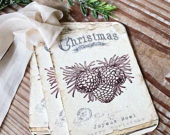 Christmas Vintage Gift Tags JOYEUX NOEL PINECONES Farmhouse Christmas Decor Card French Shabby Gift Wrap