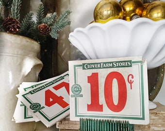 Vintage CLOVER FARM Stores Price Tag Number Card Sign Red Green Farmhouse Decor Cardboard Christmas Decor Grocery Salvage USA