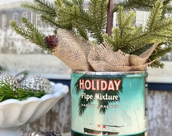 Vintage HOLIDAY Pipe Mixture Tobacco Tin Canister With Lid Farmhouse Decor Christmas Larus Tobacco