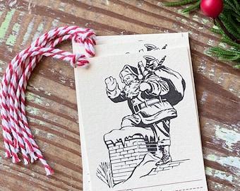 Christmas Gift Tags Vintage SANTA Retro School Red Farmhouse Decor Gift Wrap