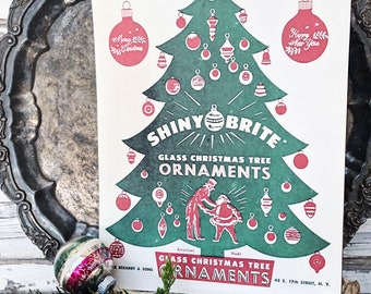 SHINY BRITE ORNAMENTS Wood Sign Red Green Farmhouse Christmas Decor Vintage Ornament Advertising Sign Wall Art Print
