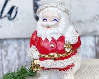 Vintage Ironstone Santa Claus Bank Spaghetti Red Farmhouse Christmas Decor