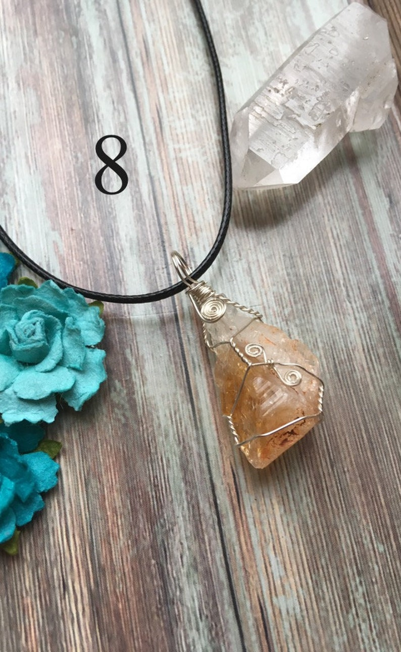 Healing Necklace Wire Wrapped Citrine Necklace Crystal Magic Necklace Citrine Crystal Necklace Citrine Point Necklace Wicca Necklace