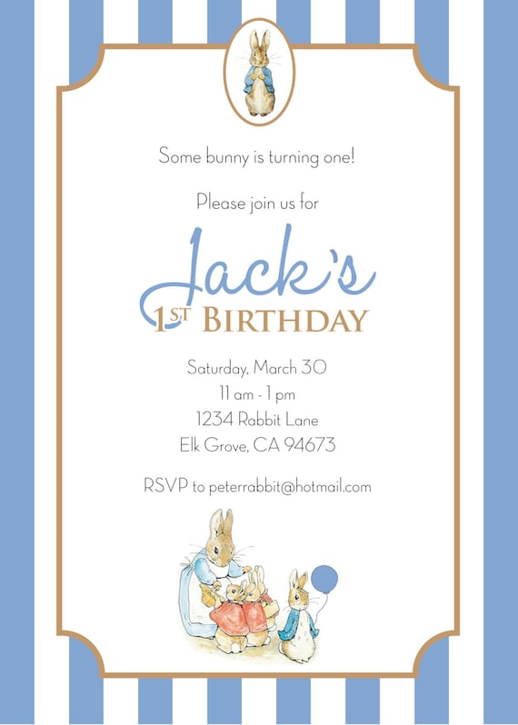 Peter Rabbit Birthday Invitation Boy Personalized Etsy