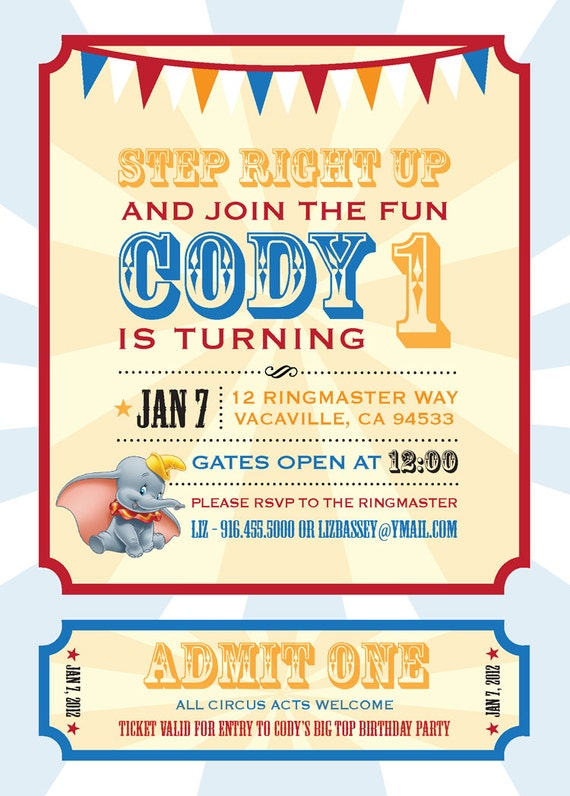 Dumbo Circus Personalized Birthday Invitation PRINTABLE Digital File Carnival 5x7