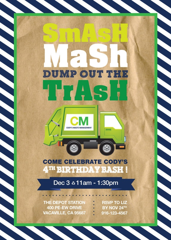 Garbage truck birthday party invitation 5x7 personalized etsy image 0 filmwisefo