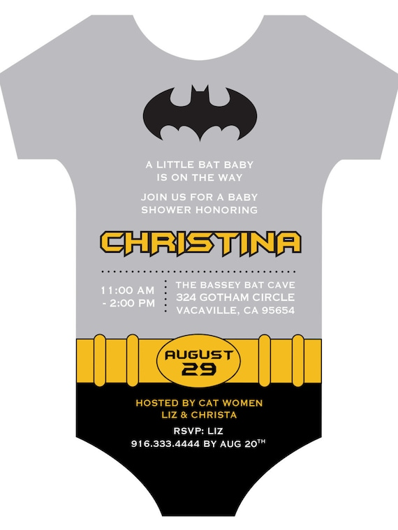picture relating to Printable Onesie Baby Shower Invitations named Batman Custom made Onesie Child Shower Invitation