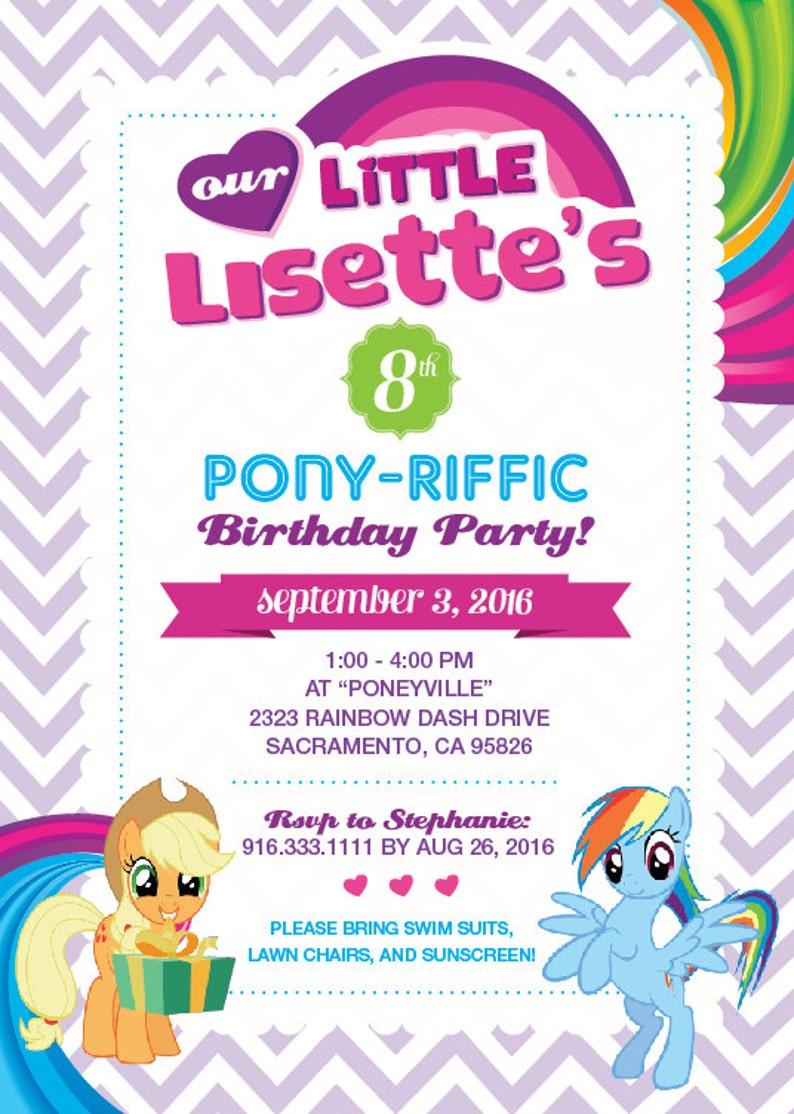 My Little Pony Personalized Birthday Invitation Printable Etsy