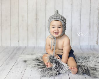 Texture pixie bonnet made to order sizes newborn to child photography prop or cold weather accessory