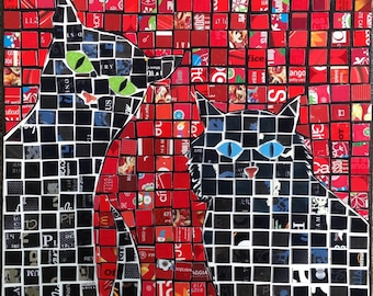 cat mosaic made from gift cards