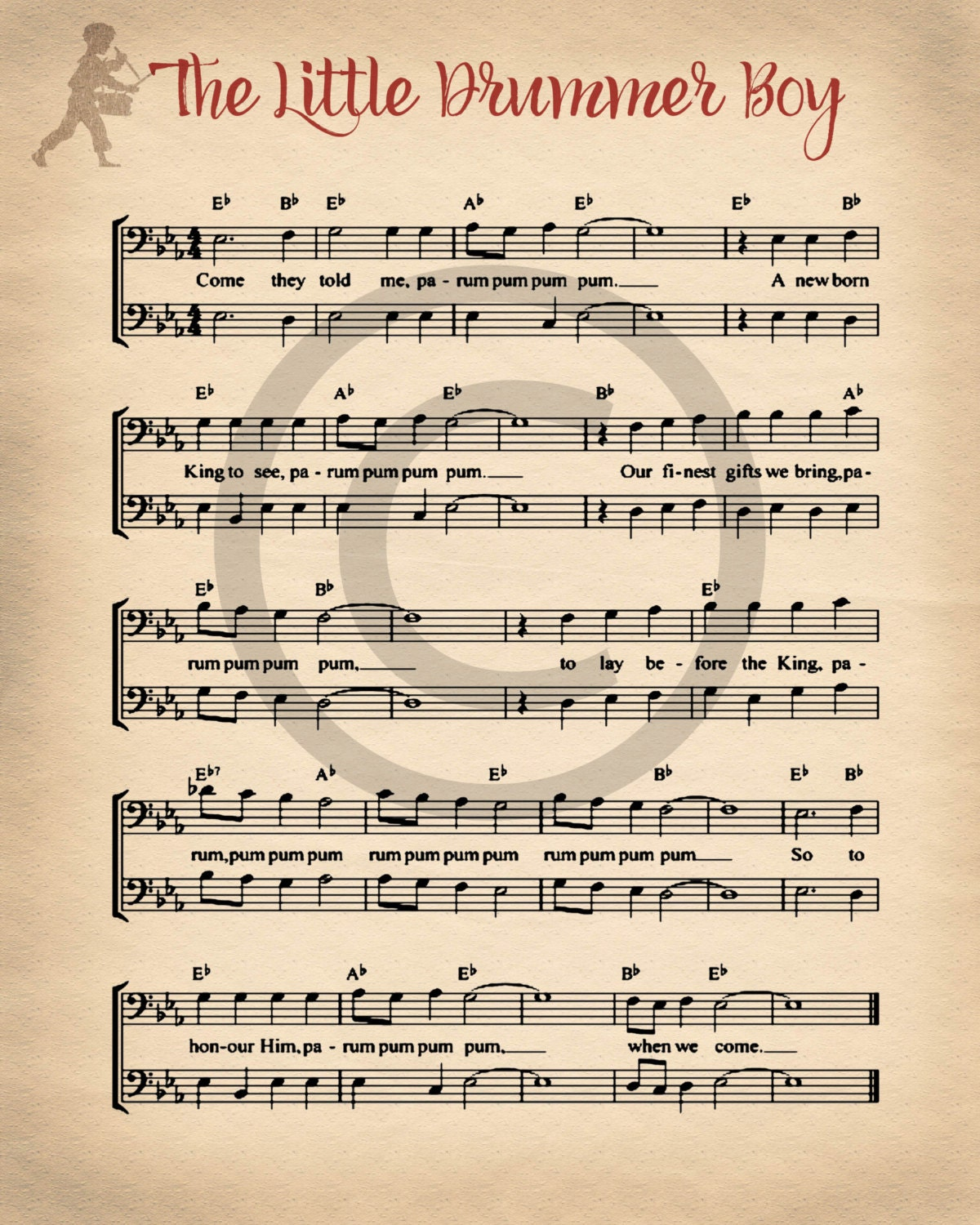 Christmas Printable Sheet Music Vintage Little Drummer Boy Etsy