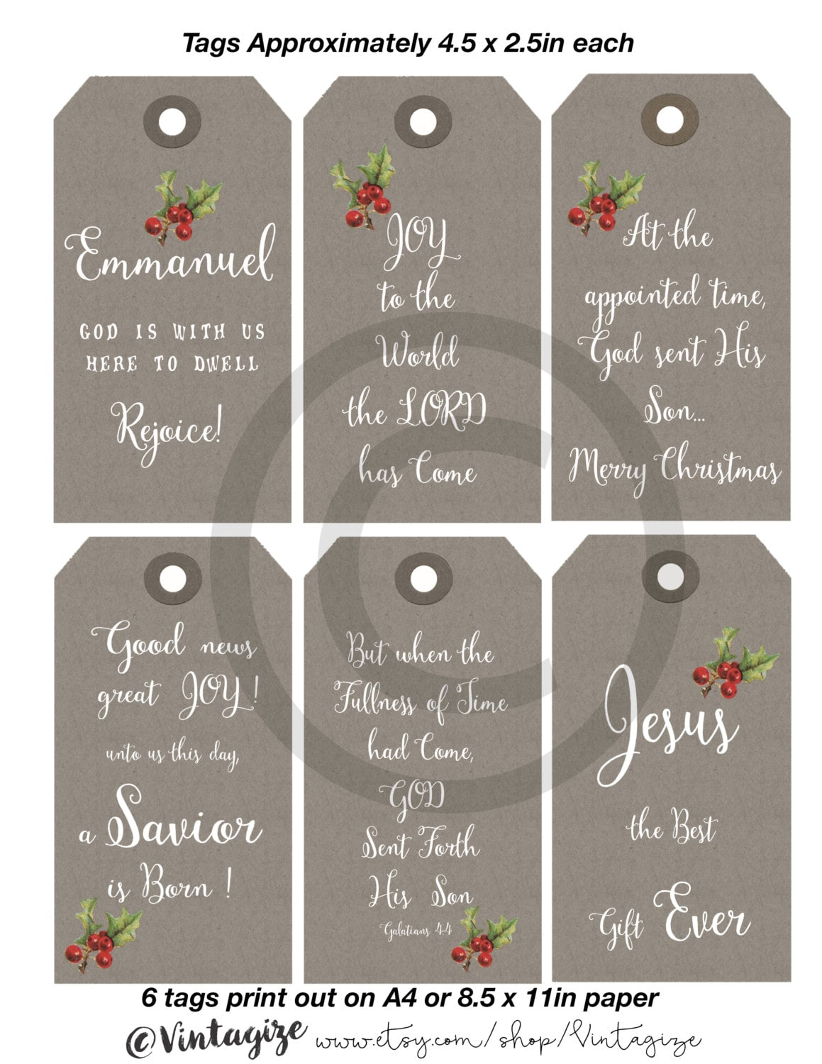 Printable Christmas Christian Religious Gift Tags. Neutral ...