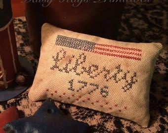 Liberty 1776 Pillow Tuck   Primitive Pin Keep   Patriotic Decor   Americana   Bowl Filler   Stitchery   Cross Stitch   4th of July   Flag