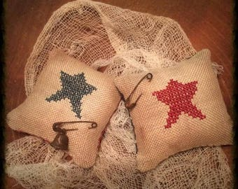 Primitive Star Pillow Tuck Pin Keep   Patriotic Bowl Fillers   Summer Decor   Farmhouse   Cross Stitch   Independence  Day   Ameriana   Prim