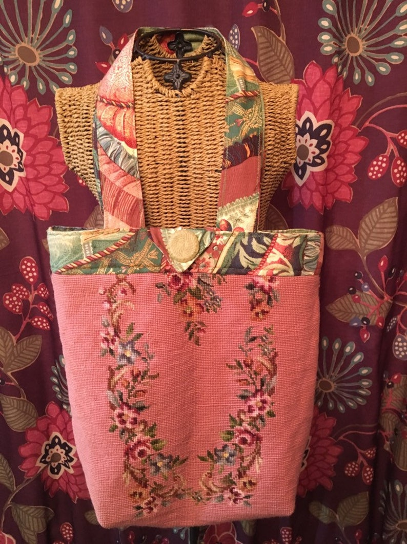 Carpet Bag with Vintage Needlepoint Pink Mauve Floral Sew Bee Mine One of a Kind Wearable Art Vintage Style