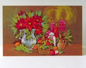 Vintage 1960s Cleo Blank Christmas Stillife Embossed Greeting Cards, Set of 8 with Envelopes