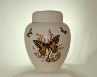 Yellow Butterfly Cremation Urn, Large Ceramic Jar with Lid, Adult Cremdation Urn, Art Pottery, handmade
