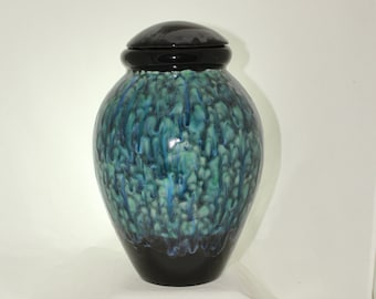 Extra Large Cremation Urn for Human Ashes, Large Ceramic Jar with Lid done in peacock colored crystal glaze