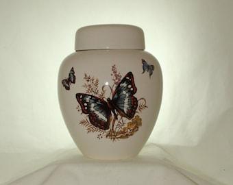 Blue Butterfly Adult Cremation Urn, Handmade Large Ceramic Jar with Lid, Human Ashes Urn Ginger Jar