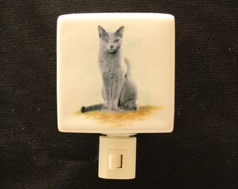 "Gray Cat on 3 "" Square Porcelain Night Light, Memorial Remembrance Night Light, Nursery Nightlight"