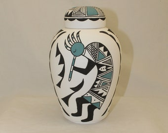 Native American Kokopelli Urn Adult Cremation Urn,  Hand Painted Large Urn for Ashes, Art Pottery, Handmade