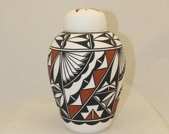 Native American Urn Ceramic Jar with Lid, Hand Painted Adult Cremation Urn for Human Ashes, Art Pottery, handmade