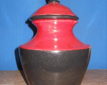 Red and black shimmering cremation urn, Ceramic jar with lid,urn, Jar with lid,large urn, large jar, art pottery, handmade