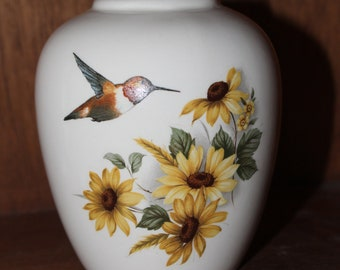 Sunflowers with Hummingbird on a Cremation Urn Ceramic Jar with Lid Baby Urn, Keepsake Urn,  Pet Ashes Urn, Art Pottery, Handmade Urn