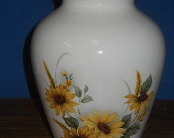 Cremation Urn with Sunflowers, Ceramic Jar with Lid, Medium Cremation Urn for Ashes, Child Urn, Pet Urn, Dog Urn, Art Pottery, Handmade Urn