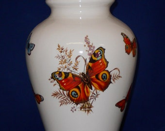Adult Cremation Urn with Butterfly, Ceramic Jar with Lid, Human Ashes Urn, Large Funeral Urn, Large Pet Urn, Art Pottery, Handmade Urn