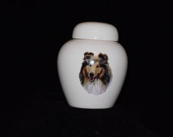 Cremation Urn, Ceramic jar with lid,urn Jar with lid,  jar, art pottery, handmade, collie dog