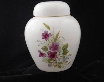 Purple Pansy Cremation Urn, Small Ceramic Jar with Lid, Urn for Ashes, Pet Urn, art pottery, handmade urn