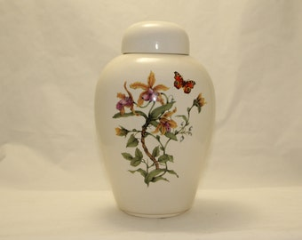 Yellow Orchid & Butterfly Ceramic Jar with Lid, Adult Cremation Urn. Large Urn for Human Ashes,  art pottery, handmade
