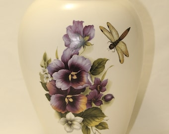 Cremation Urn Purple Pansy and Dragonfly, Adult Urn, Ceramic Jar with Lid,Large Urn for Human Ashes, Handmade