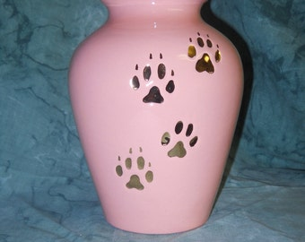 Peach with gold paws Medium Dog Ceramic Jar with Lid Cremation Urn,urn, Jar with lid,Medium Cremation urn,  jar , art pottery, handmade