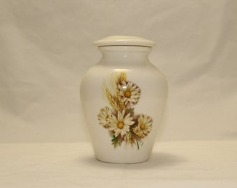 Keepsake Cremation Urn Daisy and Wheat Ceramic Jar with Lid, Pet Cat or Small Dog Urn, Tiny jar, art pottery, handmade