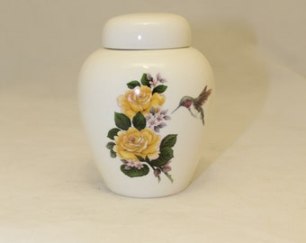 Tiny Cremation Urn with Yellow Rose and Hummingbird Jar with lid, Baby or Infant Urn, Cat Urn Small Pet Urn, art pottery, handmade