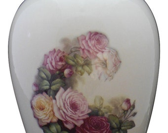 Roses Cremation Urn, Ceramic Jar with Lid, Adult Cremation Urn, large urn, large jar, Urn  for Ashes, art pottery, handmade funeral urn
