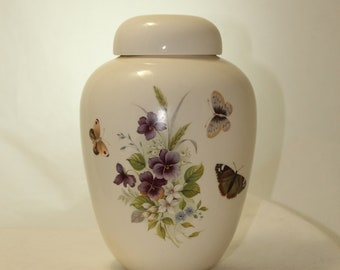 Butterflies and Pansy on Medium Cremation Urn for Ashes, Medium Jar with Lid, Pet Urn, Handmade Ashes Urn