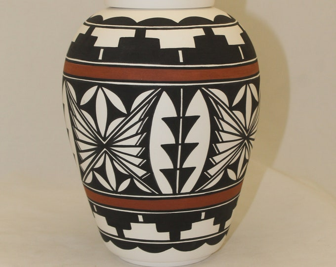 Featured listing image: Native American Urn Ceramic Jar with Lid, Adult Cremation Urn, Jar with Lid Hand Painted Large Cremation Urn for Ashes, handmade