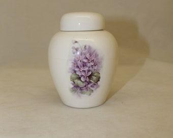 Violets on Ceramic  Cremation Urn, Baby or Infant Urn, Small Cat Urn, Jar with lid, Keepsake urn, Tiny jar, art pottery, handmade