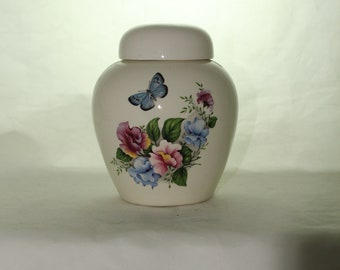 Sweet Peas with Butterfly Cremation Urn, Ceramic Jar with Lid, Pet Cat or Dog Small Urn for Ashes, Keepsake Urn, Art Pottery, handmade