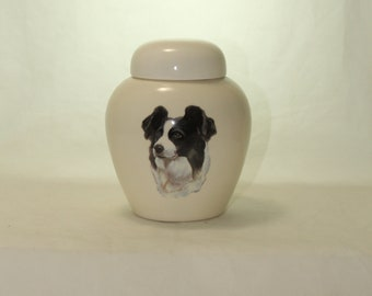 Border Collie Cremation Urn, Ceramic Jar with Lid, Pet or Dog Small Urn for Ashes, Keepsake Urn, Art Pottery, handmade